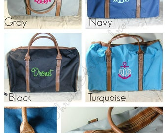 Duffel Bag with Cognac Faux Leather Trim Dancing Costumes Travel Cruise with Monogram or Name Duffle Gym Bag Men or Women Sleepover Bag