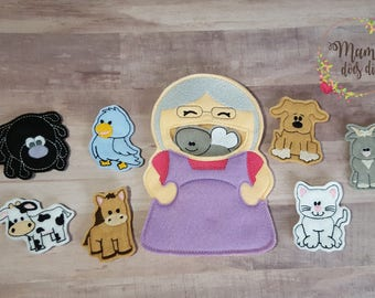 There Was an Old Lady Who Swallowed a Fly! Finger Puppet Set