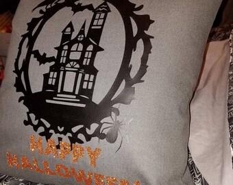 Happy Halloween Haunted House Pillow