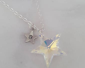 Twinkle -Crystal AB- Personalised Swarovski Star Necklace, Star Jewelry, Wedding, Christmas, Stocking Filler, Customise, birthday,