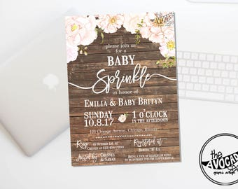 Chic Pink Peonies Rustic Baby Shower Invitation - DIY printing or Professional Prints via Convo