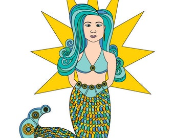 Mermaid Powers - Art Card - Blank inside