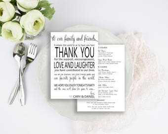 Thank You Wedding Menu - Print Your Own Menu - Digital File | Printable Wedding Menu | Printable Menu