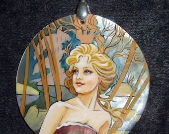 Handpainted mother of pearl Necklace Morning by A.Mucha ART NOUVEAU Pendant
