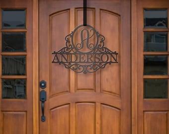 Classy Metal Name | Metal Monogram | Framed Family Initial | Letter Door Sign Hanger