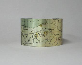 Cuff Bracelet Upstate New York Map Finger Lakes Ithaca Oswego Cortland Albany Unique Hostess Gift