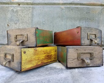 Vintage Style Wood & Metal Apothecary Drawer Box
