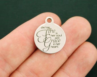 Fire and Grace Stainless Steel Charms - She has fire in her soul and grace in her heart - Exclusive Line - Quantity Options - BFS2730