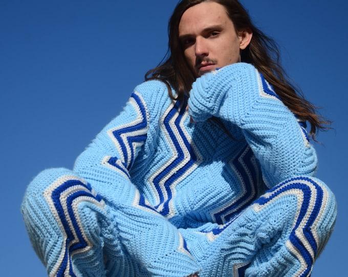 Crochet Jogging Suit Blue ZigZags