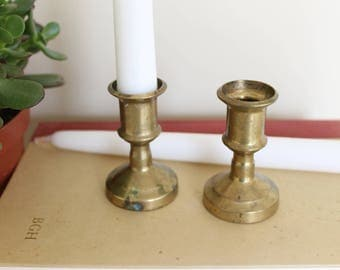 Made in Italy Brass Candlesticks, Pair of 3 inch Brass Candlesticks, Brass, Candle Holders, Brass Candlesticks, Vintage Candlesticks