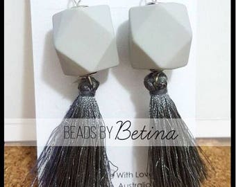 BEE//GEO: Grey Tassel Earrings