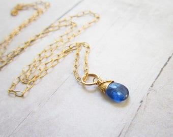 M- Dark Blue Kyanite Jewelry - Semi Precious Gemstones - Wire Wrapped Jewelry Handmade - Healing Crystals and Stones - 14k Gold Charms