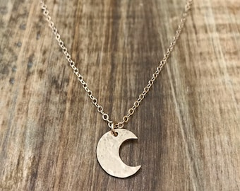 Tiny Crescent Moon Necklace - 14k gold filled moon necklace, gold crescent moon necklace, small moon necklace, crescent moon charm necklace