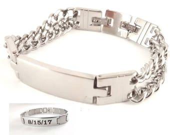 Stainless Steel Silver Bracelet - Engravable - Personalized - Custom