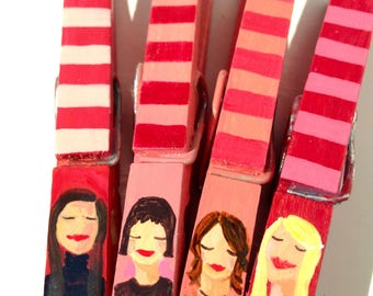 girl clothespins hand painted magnets pink and red blonde brunette