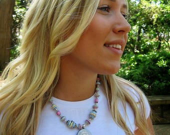 Paper bead necklace  - pink paper necklace- paper bead jewelry - ladies necklace - paper jewelry
