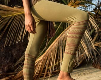 Tribal Leggings ~ Organic Cotton. Yoga Leggings. Women's Leggings. Printed Leggings. Nomad Leggings. Burning man Legging. small/medium/large