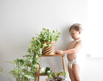 set of 3 woven rattan straw basket planters