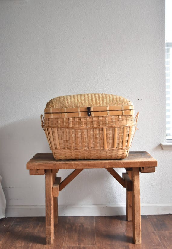 large woven bamboo rattan wicker chest with lock / trunk / basket