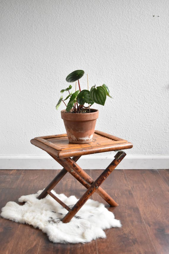 mid century collapsable slat wood folding stool / plant stand