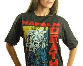 Vintage NAPALM DEATH Shirt 1990 Harmony Corruption OG Rare Cleans Mint Unworn Slayer shirt Concert shirt Band Tee 90s Tee Punk Metal Rare L