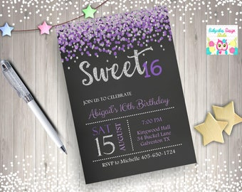 Sweet 16 Invitation Purple and Silver sweet 16 birthday invitation sweet sixteen birthday party confetti purple silver digital DIY printable