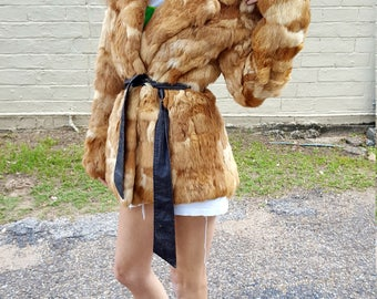 butterscotch rabbit fur coat buttery soft bourbon colored bohemian penny lane vintage fur coat hippie chic hipster almost famous coat small