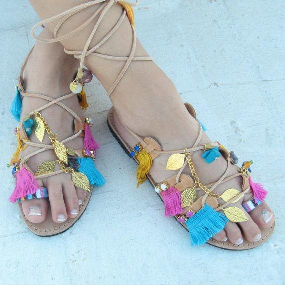 Boho Sandals, women's gladiators, lace up sandals, gypsy sandals, greek sandals women