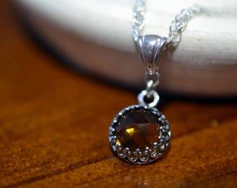 "Whiskey Quartz Necklace, Whisky Quartz Pendant, Sterling Silver 18"" 20"" Chain, 10mm Rose Cut Golden Brown Gemstone, Minimalist Jewelry"