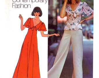 Simplicity 7117 Young Contemporary Fashion Vintage 70s Sewing Pattern for Misses' Dress or Top and Pants - Uncut - Size 8
