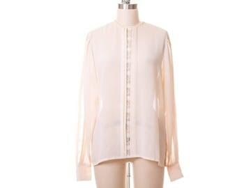 Lace in Chiffon Button Down Back  Blouse  size M/L