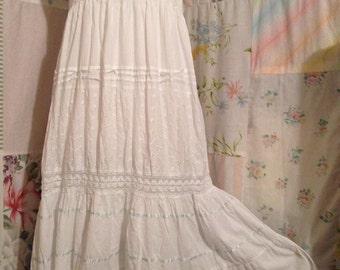 MEDIUM/LARGE, Dress Flowerchild Cotton Bohemian Hippie Boho Strapless White Eyelet Dress