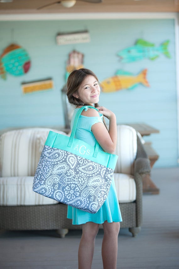 Grey Paisley Tote with Mint Green Accents