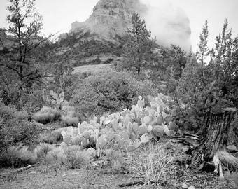 Be Still, Know that I Am - Sedona photography - mountain in mist - Desert Landscape - Healing art, Wall art - B/W Infrared