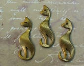 3 Cat Shaped Brass Stamping Mid Century Modern Style 1.5 inches