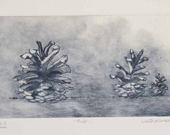 Original dry point pine cones etching print second artist's proof edition of twenty forest floor woods print
