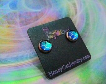 """Glass Opalite Earrings, Mermaid Teal Color-Shift Glass Opalite Stainless Steel Stud Earrings 10mm / 0.39"""""""