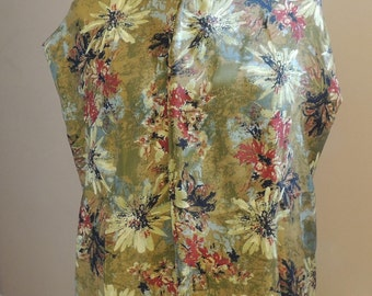 Adult Clothing Protector, Dining Scarf, Shirt Saver - Satin Floral dinner scarf flowers