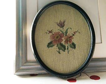 Vintage Needlepoint Framed Embroidery