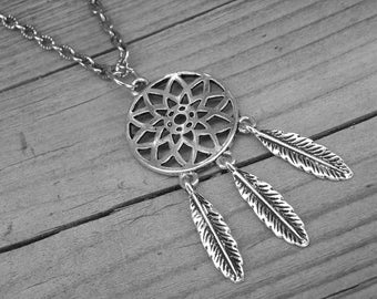 Silver Feather Dream Catcher Necklace Native American Indian Southwestern Tribal Bohemian Boho Feather Dreamcatcher Jewelry Western Cowgirl
