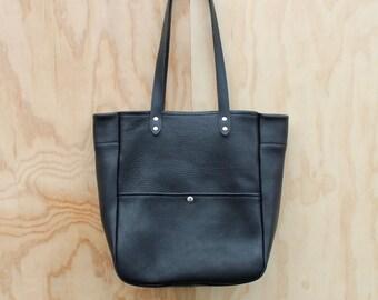 Leather Tote - Black Tumbled
