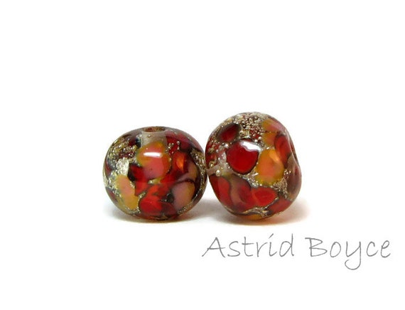 Red Mosaic -  artisan lampwork beads  -  Free USA Shipping - Pantone 2018 -  Spiced Apple -  Blooming Dahlia -Colors for your Spring Fashion