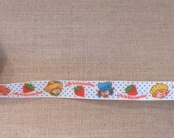 Vintage Strawberry Shortcake Blueberry Muffin Apple Dumplin Huckleberry Square Life is the Berries Fabric Ribbon 6.6 Yards