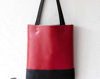 Xmas SALE Red & Black Leather Tote bag No.Tl- 13007
