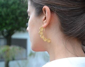 24k gold plated sterling silver long earring