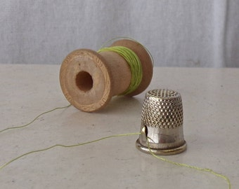 Vintage Brass Thimble Thread Cutter Thimble Collector Vintage Sewing Room 1960s