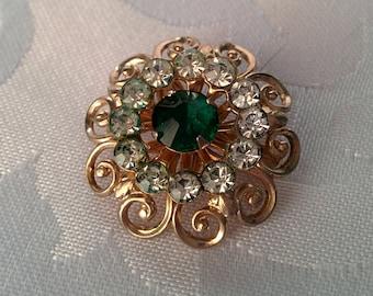 Vintage Coro Brooch, Coro Emerald Stone Brooch, Brooch, Gold Tone Brooch, Gold Brooch