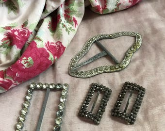 Collection Antique Buckles Shoe Clips Cut Steel Rhinestones