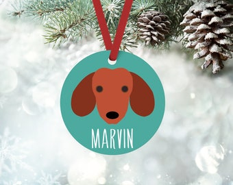 Dachshund ornament, personalized with custom name, custom Dachshund Christmas ornament, Christmas gift