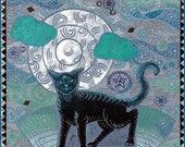 Mooncat Handmade Art Card, Greeting Card